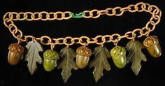 Incredible....Bakelite Acorn & Oak Leaf Necklace..love love love!!!.