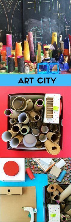 Recycled art city. Process art project for kids inspired by Art Bar Blog.