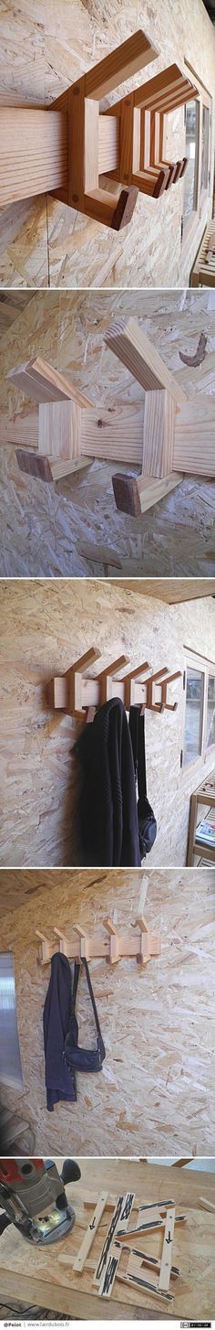 Patères coulissantes par Peiot Sliding coat hooks by Peiot – I've been thinking for a few days to make sliding coat hooks. I made a first prototype, a second … and here is the third. It is in pine and sipo. The system works … Teds Woodworking, Woodworking Crafts, Woodworking Organization, Wood Furniture, Furniture Design, Building Furniture, Bois Diy, Coat Hooks, Coat Hanger