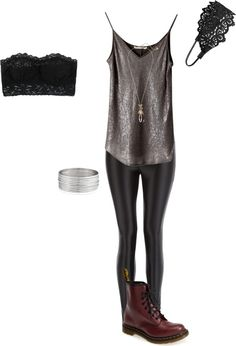 Recreation 4X04 by effy-stonem-style featuring dr martens boots Elaine Kim…