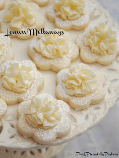 Frilly Lemon Meltaway Cookies ~ ~ ~ What could be more lovely than Frilly Lemon Cookies at a Tea Party? I adore Lemon Meltaway Cookies and have been making them for Tea Parties Lemon Curd Dessert, Lemon Desserts, Lemon Recipes, Cookie Desserts, Cookie Recipes, Delicious Desserts, Dessert Recipes, Tea Party Recipes, Tea Party Desserts