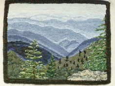 Inspired by the mountain views I see everyday and wanting to create the sense of distance I designed Long Range View. Actually, its the view of Newfound Gap in the Great Smoky Mountains. The pattern is hand drawn on linen with serged edges and generous 4 inch borders. Measurements are 24