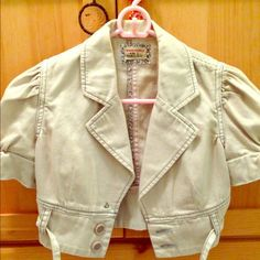 Free people beige denim top! Free people beige denim top! Two buttons and a tie. Great for layering!  Please use offer button. USED. Free People Tops Crop Tops