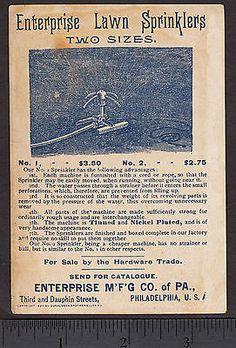 Horace Greeley 1893 Enterprise Lawn Sprinkler Chicago World Fair Farm Trade Card Garden Sprinklers, World's Fair, Chicago, Ads