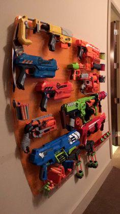 {Boy's room ideas} toys organization .. Nerf gun rack!!