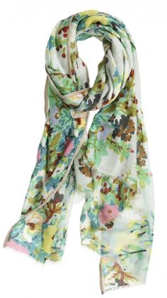 Inspired by the colorful flowers on Japanese kimonos, this scarf  beautifully displays a watercolor floral be1f2aff1e1
