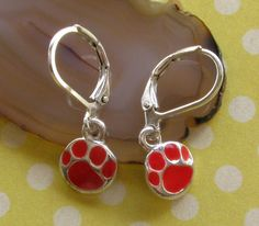 Tiny Red PAW PRINT Silver Plated Lever Back by BusyBeeBumbleBeads