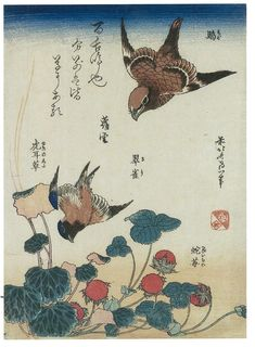 Swallow and begonia and strawberry pie Artist: Katsushika Hokusai Completion Date: 1834 Style: Ukiyo-e Genre: bird-and-flower painting Gallery: Guimet Museum, Paris, France Japanese Painting, Chinese Painting, Japanese Artwork, Monte Fuji, Art Occidental, Art Asiatique, Katsushika Hokusai, Wild Strawberries, Poster Prints