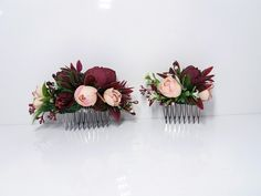 Burgundy blush flower comb Maroon Peony combWedding flower