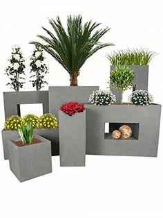 PFLANZWERK® Vaso da fiori CUBE TOWER TUB DIVIDER Grigio BESTSELLER *Resistente al gelo* *Protezione UV* *Europea di qualità*