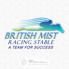 Equine logo design created for Raul Gonzalez-Abreu of British Mist Racing Stable. Copyrighted by new owner. You can purchase your own custom logo at Horse-Logos.com #horse  #art #logo #equine #graphic #equestrian #design #brand #branding #identity #trademark
