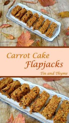 Carrot Cake Flapjacks. Recipe for chewy, crumbly, delicious carrot cake flapjacks. Classic oat bars with carrot, walnuts, raisins and spices.