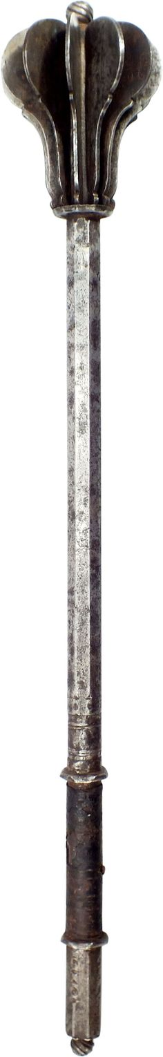 Ottoman mace with twelve flanged head, delicately shaped with convex striking edges on a stepped recurve. Its form draws heavily on the European as, unlike other Eastern maces, it was made specifically to attack fully armored European soldiers. It is likely that it served at the Battle of Vienna of 1683 and comprised part of the spoils gathered by German and Polish defenders after the Turkish defeat. Length: 25in.