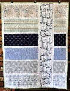 Ships Ahoy Handmade Menswear Inspired Nautical Quilt by theGarnetM