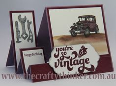 Stampin Up, The Crafty Thinker, Guy Greetings, Side Step Card, Masculine card