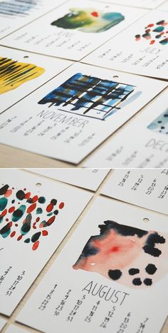 This would be a great project (watercolor techniques) for high school students and then sell them to make money for art club, field trips or donate to a local museum. ---watercolor calendar by Flora Douville