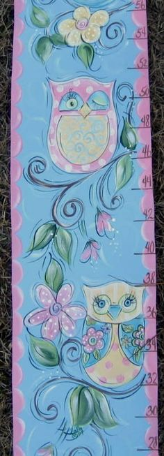 Hand Painted Owl Growth Chart by SassyfrasDesignz on Etsy, $59.99