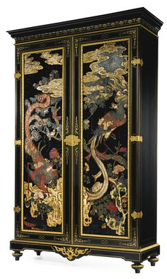 A LOUIS XIV STYLE ORMOLU-MOUNTED AND BRASS INLAID EBONIZED AND CHINESE COROMANDEL ARMOIRE CIRCA 1900, THE COROMANDEL PANELS CIRCA 1700