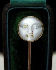 *SCARCE* Antique VICTORIAN 14K MAN in the MOON Hand-Carved MOONSTONE STICK PIN | eBay
