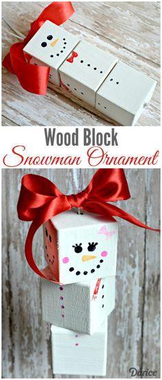 DIY Wood Block DIY Snowman Ornament from The Cards We Drew via Darice
