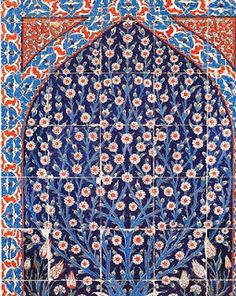 """The decorative patterns of Turkish and Morrocan tiles include swirling leaves, clusters of stylized tulips & delicate floral balanced with Islamic geometric rhythms. The colours include brilliant white foundation with layers of lapis blue, aqua, orange & green glazes that finish each tile. """
