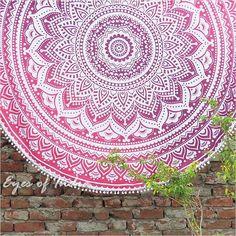 "70"" Pink Roundie Beach Throw Picnic Mat Spread Hippie Mandala Tapestry Bohemian"