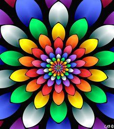 Spring Blooms Flower Art Drawing, Mandala Drawing, Mandala Art, Rainbow Art, Rainbow Colors, Easy Canvas Painting, Orange Aesthetic, Whimsical Art, Fractal Art