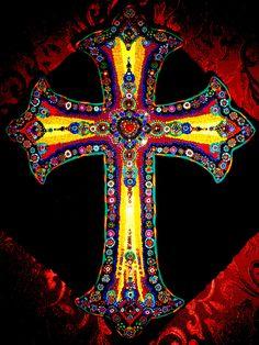 Fimo mosaic Cross made by Hand & Heart