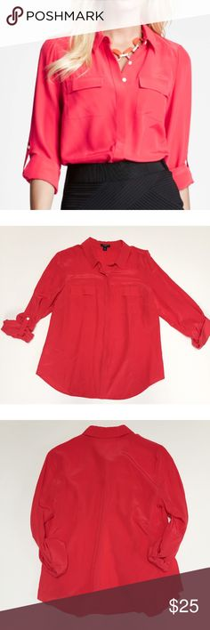 Ann Taylor Poppy Red Camp Shirt Ann Taylor 100% silk camp shirt in bright poppy red color. Size 6, loose fit. Hidden buttons, with pockets on chest. Excellent used condition. Bundle two or more items to save 20%! Ann Taylor Tops Button Down Shirts