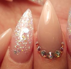 Nude almond nails with gems and sparkles Gem Nails, Almond Nails, Hair Inspo, Sparkles, Nail Designs, Pearl Earrings, Make Up, Nude, Pearls