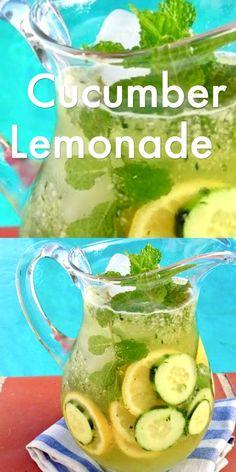Cucumber Lemonade Recipe - Cucumber Lemonade Recipe Cooking Videos Raw, healthy and refreshing cucumber mint lemonade, the perfect summer drink - Healthy Juices, Healthy Smoothies, Healthy Drinks, Healthy Recipes, Vegetable Smoothie Recipes, Apple Smoothies, Blender Recipes, Cucumber Lemonade, Cucumber Drink