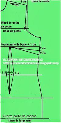 El Rincon De Celestecielo: Patrón básico delantero de blusa a medida o anatómico