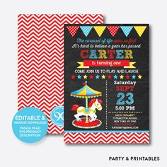 Red Carousel Chal... http://partyandprintables.com/products/pink-carousel-chalkboard-kids-birthday-invitation-editable-instant-download-ckb-324?utm_campaign=social_autopilot&utm_source=pin&utm_medium=pin #partyprintables #birthdayinvitation #partysupplies #partydecor #kidsbirthday #babyshower