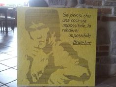 bruce lee in stile pop art tempera e penarello su pannello in truciolare