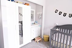 Nursery | Design | Infant | Newborn | Kids Room | Gender Neutral | Yellow Nursery | Book Wall | Kids Books | Baby Shower | Baby | Rocking Chair | DaVinci Crib | Yellow and Grey | Gray Palette