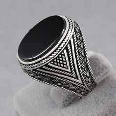 Mens Ring with Black Onyx Stone in 925 Sterling Silver Eastern Motifs Size 8-12