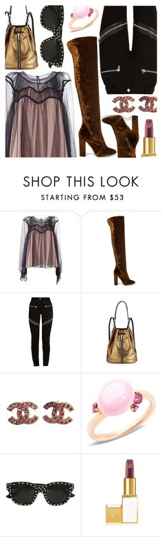 """""""Bronze & Pink & Black"""" by stacey-lynne ❤ liked on Polyvore featuring Chloé, Aquazzura, Givenchy, Elizabeth and James, Chanel, Pomellato and Yves Saint Laurent"""