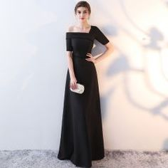 Chic   Beautiful Black Evening Dresses 2017 A-Line   Princess Amazing    Unique One-Shoulder 1 2 Sleeves Pearl Crystal Floor-Length   Long Backless  Formal ... da0219a597bc