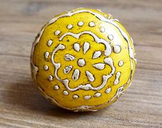 "1.5"" Yellow and White Lace Pattern Painted Round Wooden Knob - Drawer Pull - Rustic Shabby Chic Decorative Knob - Cabinet Kitchen Decor"