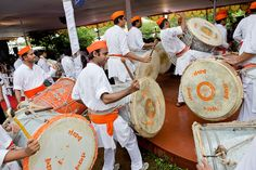 Drummers perform for the Dalai Lama's arrival at Shivaji Maharaj Museum of Indian History in Pune, Maharashtra, India, July 2013. Photo/Tenzin Choejor/OHHDL