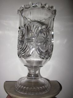 "EAPG 1890 US GLASS ""CLEAR CIRCLE"" AKA, Horn of plenty Celery Vase $102.99"