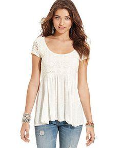 American Rag Juniors Top, Short Sleeve Crochet-Knit Babydoll - Juniors Tops - Macys