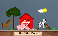 On The Farm Animals Wall Decal Sticker FA3 - (Barn, Pigs, Horse, Chicken, Rooster, Baby Chicks, Cow) HD. $199.99, via Etsy.
