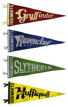 Vintage Hogwarts Pennant Collection.  Should get these made for the girls' room.