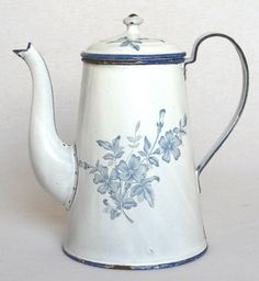 Antique Vintage French Enameled Coffee Pot ~ White with Delicate Blue Flowers | eBay