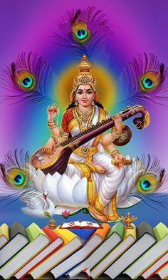 Navratri Puja will help you overcome all your negativities. Flourish with wealth on this Navratri by offering Homam to Lakshmi, Saraswathi & Durga. Saraswati Vandana, Saraswati Goddess, Ganesh Images, Lord Krishna Images, Lakshmi Images, Lord Krishna Wallpapers, Hanuman Wallpaper, Lord Shiva Family, Divine Goddess
