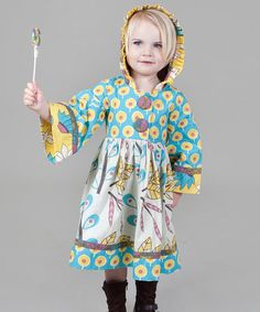 Take a look at this Yellow & Aqua Dazzle Hannah Dress - Toddler & Girls by Jelly the Pug on #zulily today!