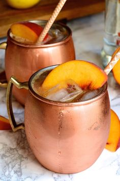 Ginger Peach Moscow Mule cocktail recipe featuring spicy fresh ginger ...