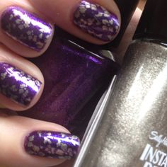 Today's colors are: GRAPE...SET..MATCH by OPI and METALLIC MOMENTUM by Sally Hansen. I stamped with BM plate # 221