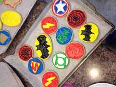 Superhero cookies with royal icing. Superhero Baby Shower